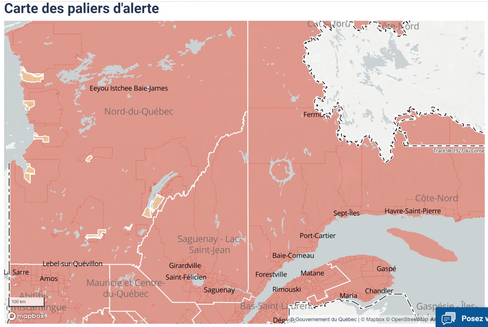 Le Nord-du-Québec passera en zone orange