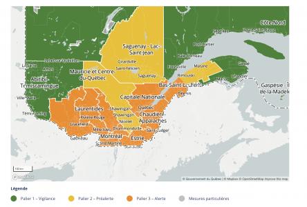 Le Nord-du-Québec est basculé au palier vert